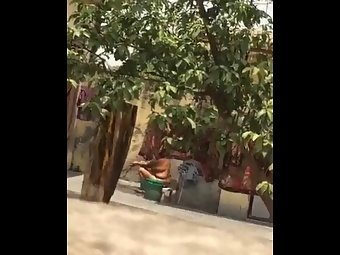 Indian Aunty Taking Outdoor Bath